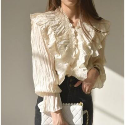 ブラウス レディース 長袖 白 韓国 ファッション トップス Vネック シフォン フリル ワッシャー 長袖 ゆったり フェミニン 大人可愛い レ