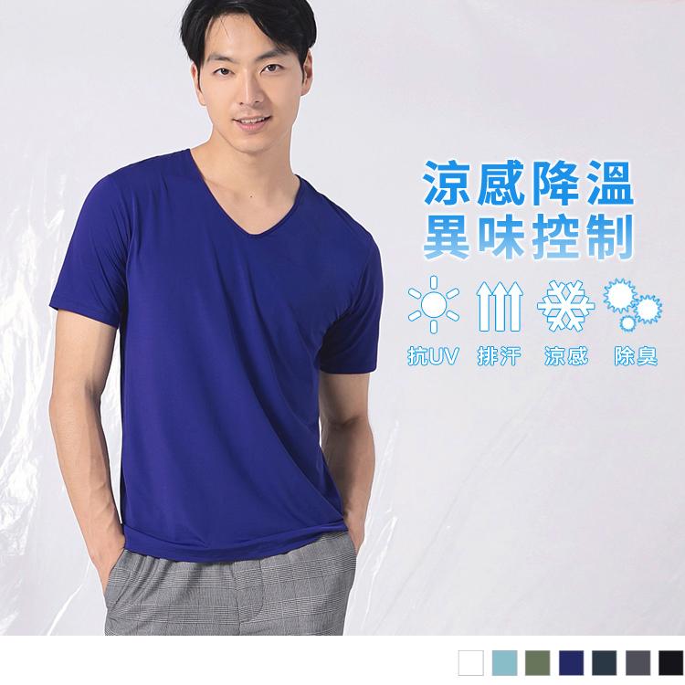 台灣製造~冰咖啡紗抗UV涼感V領上衣(男