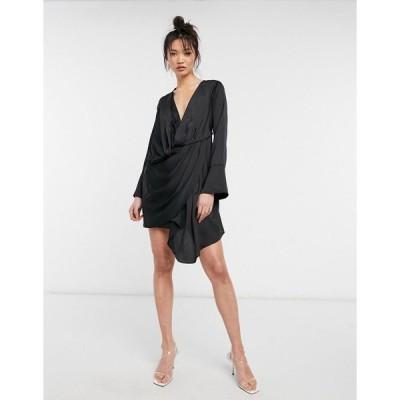 エイソス ミディドレス レディース ASOS DESIGN satin mini dress with drape skirt detail in black エイソス ASOS ブラック 黒