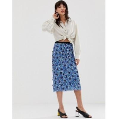 マンゴ Mango レディース ひざ丈スカート スカート midi sequin skirt ブルー