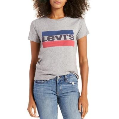 リーバイス シャツ トップス レディース Levi's Women's Perfect Logo Graphic T-Shirt Smokestack