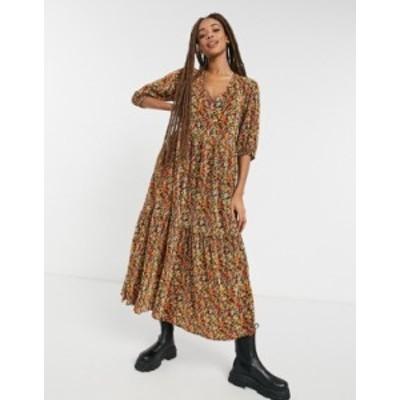 エイソス レディース ワンピース トップス ASOS DESIGN plisse v neck maxi dress with tiered hem with long sleeves in fall floral Fa