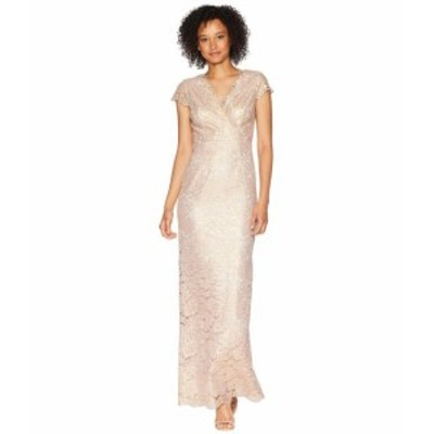 Adrianna Papell アドリアナパぺル ドレス 一般 Short Sleeve Beaded Lace Gown with Scattered Beads