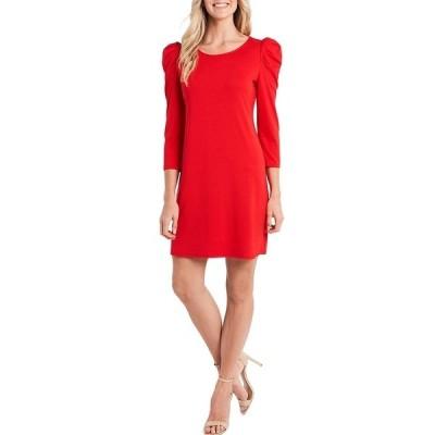 セセ レディース ワンピース トップス 3/4 Puff Sleeve Round Neck Knit Dress Red Maple