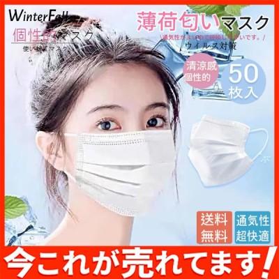 送料無料!50枚 薄荷匂い 個性的 使い捨てマスク 清涼感 ウィルス対策 防塵花粉 飛沫感染 95%カットアレルギー対策 通気性 超快適 3層構造