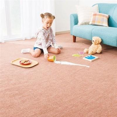 選べる撥水・抗菌・防臭カラーカーペット/絨毯 〔長方形 88cm×176cm/ブラウン〕 江戸間1畳 フリーカット可 日本製