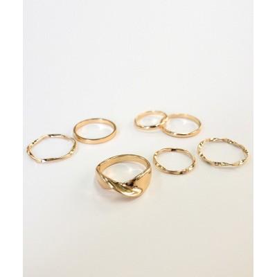 【melange メランジェ】クロスモチーフ入りデザインリング7本セット 指輪(リング)