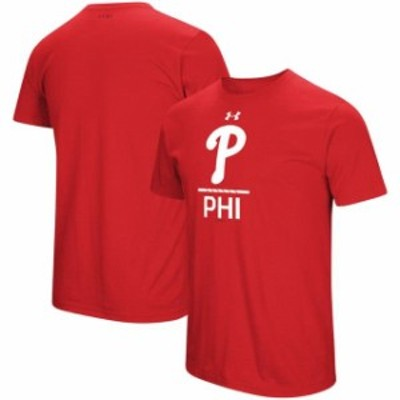 Under Armour アンダー アーマー スポーツ用品  Under Armour Philadelphia Phillies Red Lock-Up Charged T-Shirt