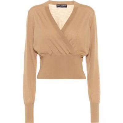 ドルチェandガッバーナ Dolce and Gabbana レディース ニット・セーター トップス Cropped Wool Wrap Sweater Beige Medio