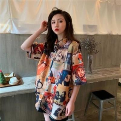 レディースファッション 韓国のポロ襟半袖レディースシャツヒップホッププラスサイズ2020新しいファッション夏トップス若い印刷プレッピ