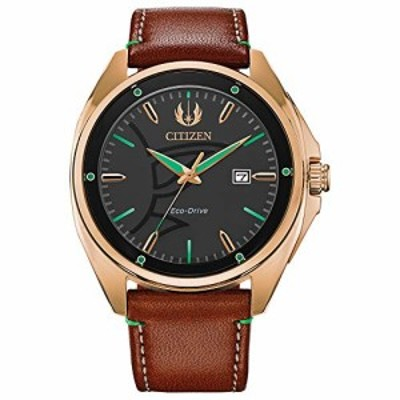 Citizen Eco-Drive Star Wars Quartz Mens Watch Stainless Steel with Leather strap Yoda Brown Model AW1513-05W