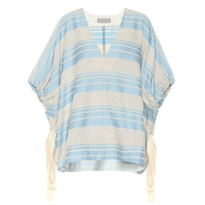 リーマシューズ Lee Mathews レディース トップス Tilda striped linen and cotton top Celadon Bluue