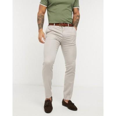 トップマン Topman メンズ スラックス ボトムス・パンツ Skinny Suit Trouser ベージュ