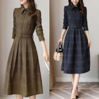 ワンピースドレス ワンピース ドレス 結婚式ドレス 襟付きチェック柄ミモレ丈ワンピースドレス a0142