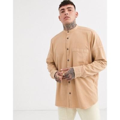 エイソス メンズ シャツ トップス ASOS DESIGN oversized textured shirt in brown in longline Brown