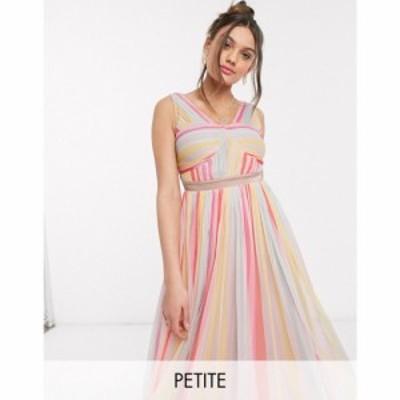 アナヤ プティ Anaya Petite レディース ワンピース ミドル丈 Anaya With Love Petite cross neck pleated midi dress in stripe print