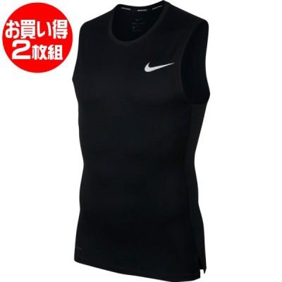 【2枚組】 ナイキ NIKE ナイキ ノースリーブインナーシャツ 2枚組 BV5601-010 メンズ インナー タンクトップ スリーブレス シャツ ナイキプロ 黒