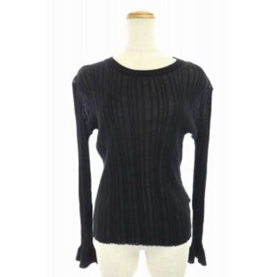 【中古】ドゥーズィエムクラス DEUXIEME CLASSE プルオーバー 薄手 リブニット セーター 長袖 黒 ブラック レディース