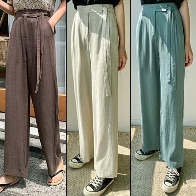 クーポンで適用可能★驚きの特価👗韓国ファッションカジュアルECサイト1位 ENVYLOOK💖リネン混サイドストラップベルトハイウエストワイドパンツ💖