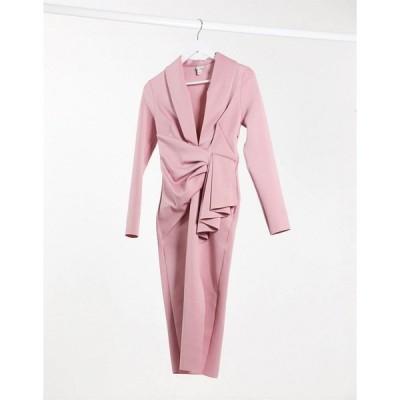 リバーアイランド レディース ワンピース トップス River Island plunge drape bodycon midi dress in pink Pink