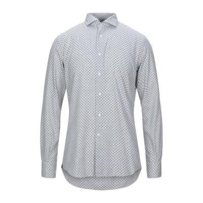 DEL SIENA 柄入りシャツ ファッション  メンズファッション  トップス  シャツ、カジュアルシャツ  長袖 ライトグレー