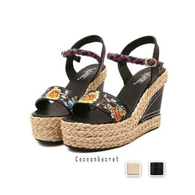 サンダル レディース ウェッジサンダル 花 刺繍 ウェッジソール 厚底サンダル 靴