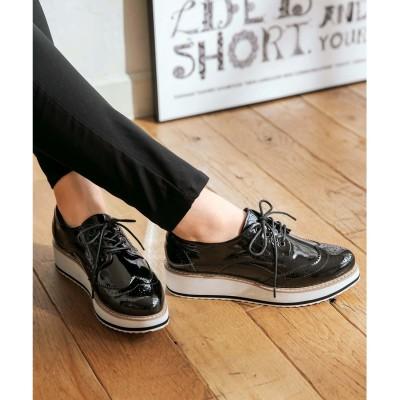 ジーラ GeeRA オックスフォード厚底靴 (黒エナメル)