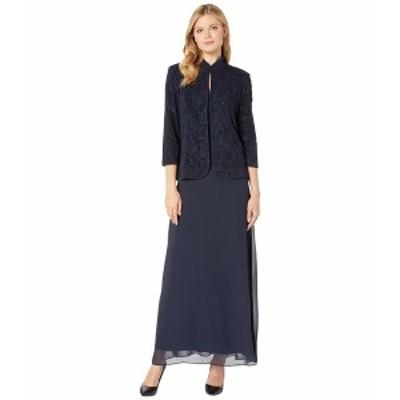 アレックスイブニングス レディース ワンピース トップス Long Jacquard Knit Jacket Dress with Mandarin Collar Jacket Navy