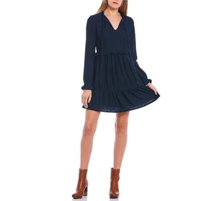 シティヴァイブ レディース ワンピース トップス Long-Sleeve Tie-Front Tiered Knit Babydoll Dress