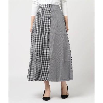 スカート 先染めギンガムチェックフロントボタンフレアロングスカート