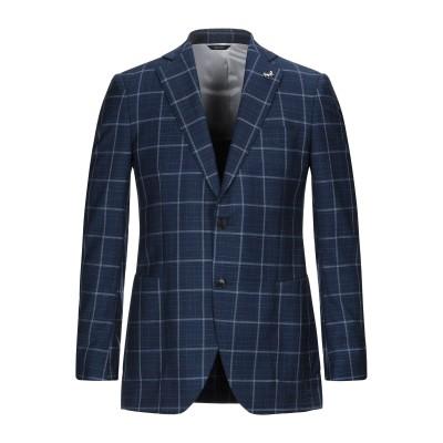 TOMBOLINI テーラードジャケット ダークブルー 54 バージンウール 100% / 革 テーラードジャケット