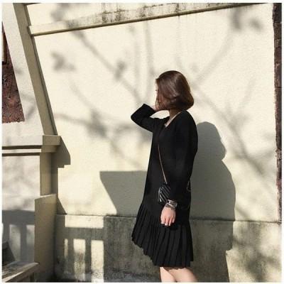 レディースワンピース秋春膝丈オシャレシフォンワンピ韓国風大きいサイズお呼ばれ30代20代結婚式