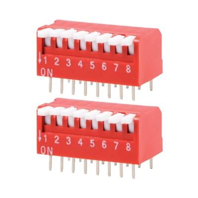 uxcell DIPスイッチ 回路基板適用キースイッチ 8ポジション 22x12.5x12.7mm 2個入りレッド