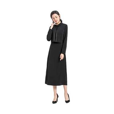 Ever-Pretty ブラックフォーマル 喪服 礼服 レディース アンサンブル ワンピース オールシーズン 大きいサイズ(ブラック 13 号)