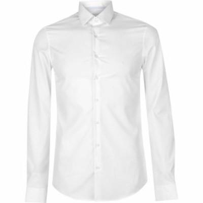 カルバンクライン Calvin Klein メンズ シャツ トップス Calvin Poplin Slim Shirt White