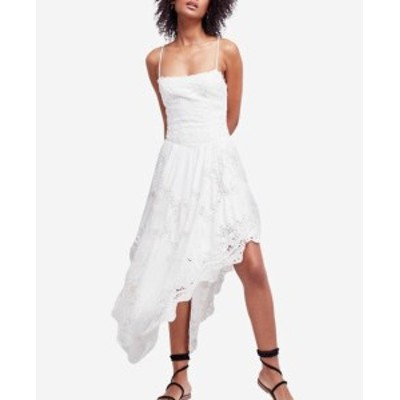 Free People フリーピープル ファッション ドレス Free People NEW White Womens Size 6 Asymmetric Lace-Up A-Line Dress