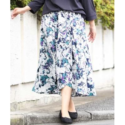 (eur3/エウルキューブ)【洗える/大きいサイズ】アート調フラワー柄スカート/レディース ネイビー