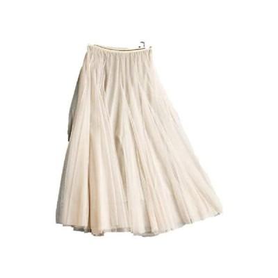 [アスミナリ] AS44 ロングスカート シフォン 素材 上品 大人 黒 ブラック 灰 グレー 桃 ピンク 白 (白 Free Size)