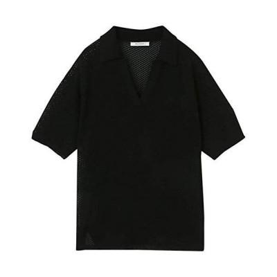 マウジー ニット セーター MESH BIG KNIT POLO 010DSH70-0280 レディース Free ブラック