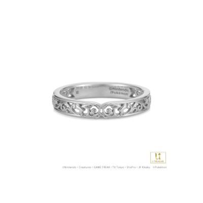 ポケモン ピカチュウ リング 指輪 スクロールシルエット リング K18ホワイトゴールド 結婚指輪 男女兼用 マリッジリング ブライダル プレゼント