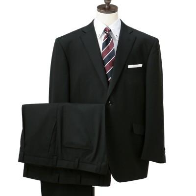【SizeMAX】洗えるスーパーストレッチ アスリートモデル 黒 シャドーストライプ 2パンツスーツ LES MUES