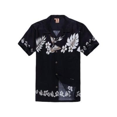 パーム ウェイブ(Palm Wave) メンズ ハワイアン シャツ アロハシャツ Lサイズ ネイビー地花柄 (インポート)[並行輸入品]