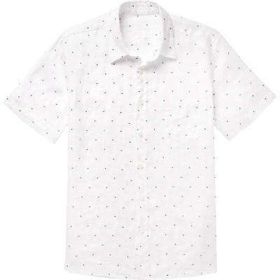 120パーセント 1.2 メンズ シャツ トップス Linen Shirt White
