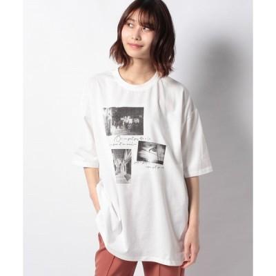【グリーンパークス】RAY CASSIN フォト転写Tシャツチュニック
