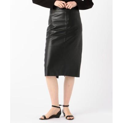 TOMORROWLAND/トゥモローランド DES PRES ハイウェストレザースカート 19 ブラック 38