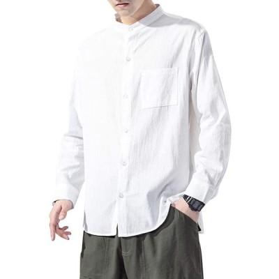 バンドカラーシャツ 長袖 メンズ 大きいサイズ ストリート 綿100 春 夏 ワイシャツ ゆったり カジュアルシャツ 無地 (s2103102719)
