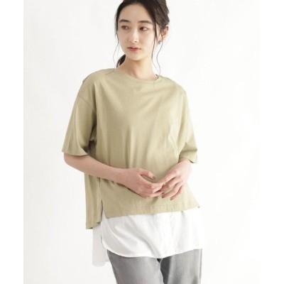 (OZOC/オゾック)シャツレイヤード風Tシャツ/レディース カーキ(027)