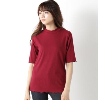 インナーにも◎テレコリブハイネック5分袖Tシャツ(ページワン/PAGE ONE)