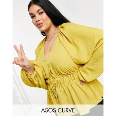 エイソス レディース シャツ トップス ASOS DESIGN Curve satin batwing sleeve top with tie front in mustard