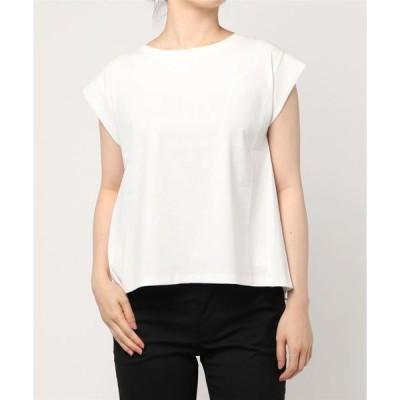 tシャツ Tシャツ バックシャンシフォンフレンチスリーブカットソープルオーバー